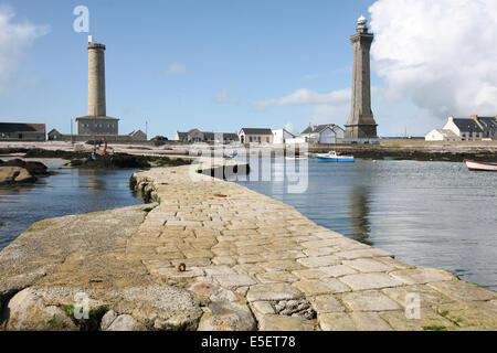 France, Bretagne, finistere sud, pays bigouden, saint guenole, phare d'Eckmuhl, vieille tour, - Stock Photo