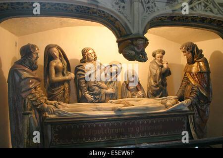 France, Haute Normandie, seine maritime, dieppe, eglise saint jacques, chapelle du sepulcre, sculpture, mise au - Stock Photo