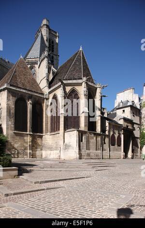 France, ile de france, paris 4e arrondissement, le marais, eglise saint gervais et saint protais, facade, rue des - Stock Photo
