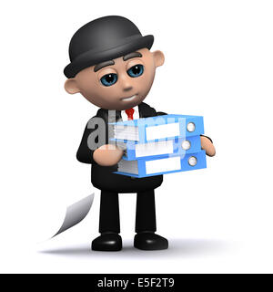 3d render of a businessman carrying lots of folders - Stock Photo