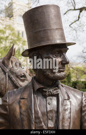 President Lincoln statue at President Lincoln's Summer Cottage in Washington DC, USA Stock Photo