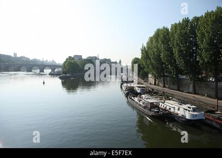France, ile de france, paris 1e, pont des arts, la Seine passerelle entre louvre et institut de france, vue sur - Stock Photo