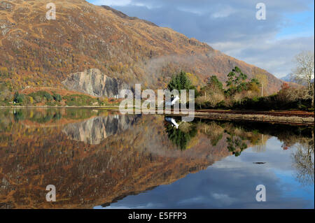Winter reflections on Loch Etive, Argyll and Bute, Scotland - Stock Photo