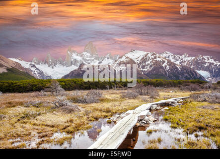 Footbridge in Andes, Fitz Roy mountain range, Patagonia, Argentina - Stock Photo