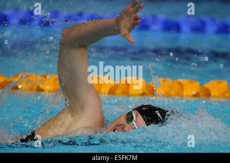 Glasgow, Scotland, UK. 29th July, 2014. Lauren Boyle of New Zealand in the women's 400m freestyle final during day - Stock Photo