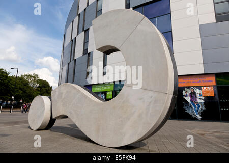 Statue of a question mark outside Ispwich University - Stock Photo