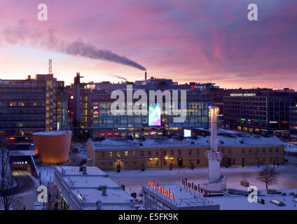 Aerial view of Kamppi, Helsinki on winter at sunset. - Stock Photo
