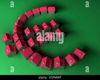 Small model houses forming the Euro symbol - Stock Photo