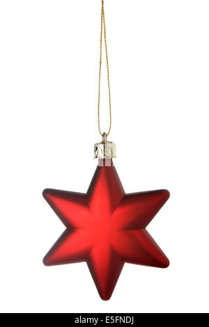 Red Christmas star isolated over a white background - Stock Photo