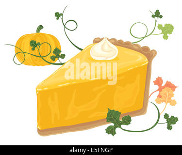 an illustration of a piece of pumpkin pie with a cream swirl vines foliage and whole pumpkin on a white background - Stock Photo