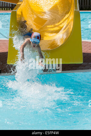 Boy Swim Water Slide Fun Laugh Thrill Sport Recreation Wet Pool Tube Stock Photo Royalty Free