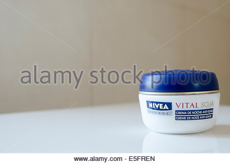 Nivea Visage Vital Soja night cream as sold in Portugal - Stock Photo