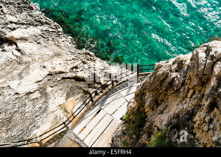 Trail to grotta del Bue Marino in Cala Gonone, Sardinia, Italy - Stock Photo