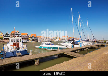 The harbour of the village of Volendam in The Netherlands - Stock Photo