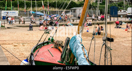 Cockle boat Endeavour, moored near the beach at Leigh on Sea, Essex, UK. - Stock Photo