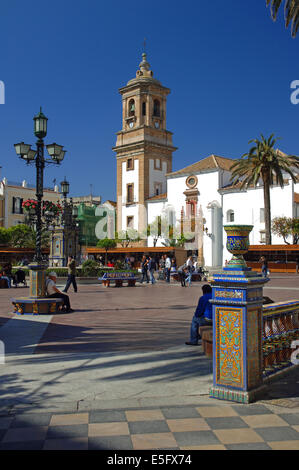 Plaza Alta and Church of La Palma, Algeciras, Cadiz-province, Region of Andalusia, Spain, Europe - Stock Photo