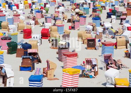 Borkum, Germany: July 29, 2014 - beach with bath tents - Stock Photo