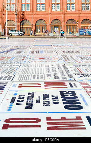 The Comedy Carpet, comedians catchphrases displayed on the promenade outside Blackpool Tower, Golden Mile, Blackpool, - Stock Photo
