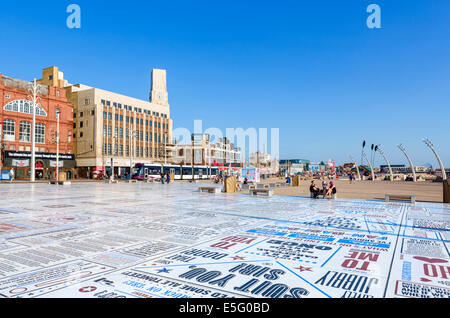 The Comedy Carpet, comedians catchphrases displayed on promenade outside Blackpool Tower, The Golden Mile, Blackpool, - Stock Photo