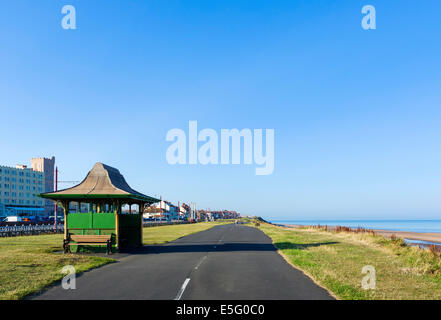 Old shelter on the seafront at Thornton Cleveleys in the early morning, North Blackpool, Lancashire, UK - Stock Photo