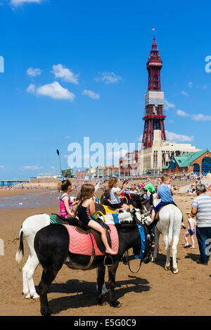 Donkey rides on the beach in front of  Blackpool Tower, The Golden Mile, Blackpool, Lancashire, UK Stock Photo