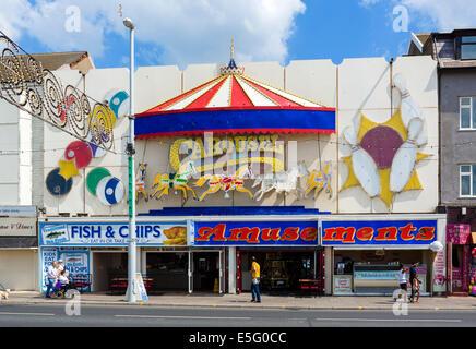 Carousel amusement arcade on the promenade, Golden Mile, Blackpool, Lancashire, UK - Stock Photo