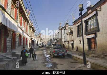 Historic district of Gyantse in Tibet - Stock Photo