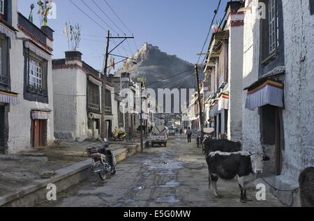 Traditional houses in the Old town of Gyantse, Tibet, with the fort towering above - Stock Photo