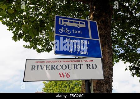 Rivercourt Road W6 street sign on post, London Borough of Hammersmith & Fulham England Britain UK - Stock Photo