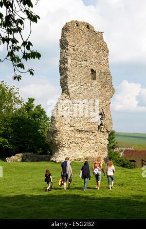 Ruins of Bramber Castle (Norman), Bramber village, West Sussex, England, UK. - Stock Photo