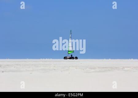 Borkum, Germany: July 29, 2014 - blow karting at the beach - Stock Photo