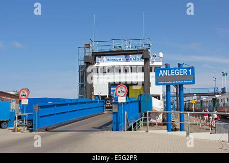 Borkum, Germany: July 29, 2014 - ferry to the port of Emden - Stock Photo