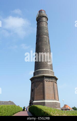 Borkum, Germany: July 29, 2014 - great lighthouse of Borkum, Germany - Stock Photo