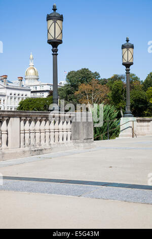 Dome of New Jersey Statehouse seen from Trenton War Memorial. - Stock Photo