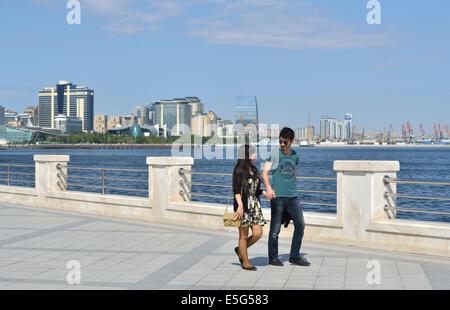 Seaside promenade, Baku, Azerbaijan - Stock Photo
