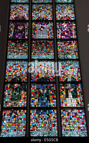Stained Glass Windows at St Johns Archcathedral in Warsaw Old Town - Stock Photo