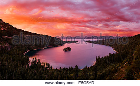 Beautiful sunset over Emerald Bay in Lake Tahoe, California - Stock Photo