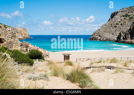 Cala domestica beach in Buggerru, west coast of Sardinia, Italy - Stock Photo