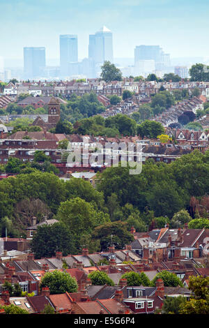 Summer view of suburban London from Alexandra Palace (Muswell Hill) with housing in Wood & Crouch End and a distant - Stock Photo