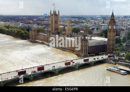 The Houses of Parliament, Westminster Bridge and the River Thames as seen from the London Eye - Stock Photo