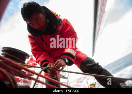 Cairo, France. 4th July, 2014. Yang Jiru, 23, pit of Dongfeng Team cleans the cord at the cockpit during the offshore - Stock Photo