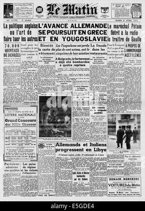1941 Le Matin (France) front page reporting Germany invades Greece & Yugoslavia - Stock Photo