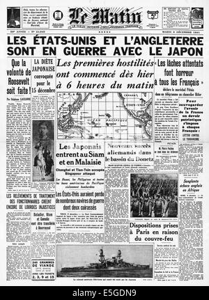 1941 Le Matin (France) front page reporting Britain and USA declare war on Japan - Stock Photo