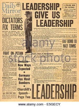1940 Daily Mirror front page reporting Winston Churchill's speech to Parliament after the fall of France - Stock Photo