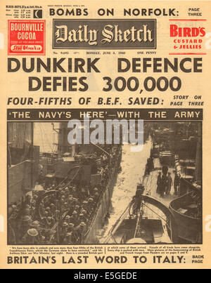 1940 Daily Sketch front page reporting the evacuation of British and French troops from  Dunkirk - Stock Photo