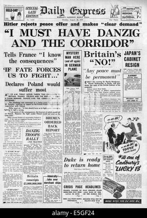 1939 Daily Express front page reporting Adolf Hitler demands Danzig and Polish Corridor