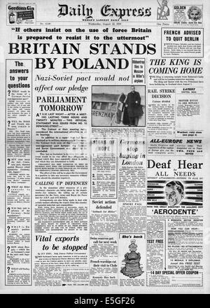 1939 Daily Express front page reporting British government's pledge to stand by Poland if they are attacked