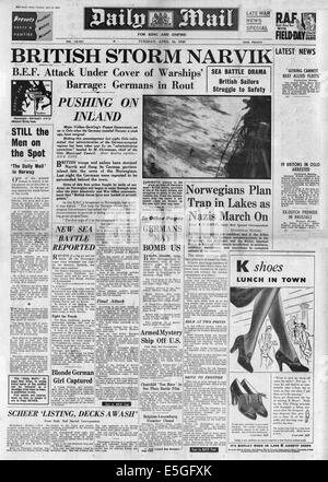 1940 Daily Mail front page reporting Allied forces attempt to recapture Narvik from German forces - Stock Photo