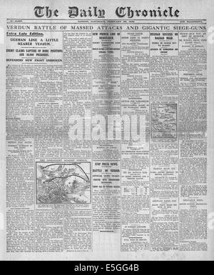 1916 Daily Chronicle front page reporting battle of Verdun between the German and French armies - Stock Photo