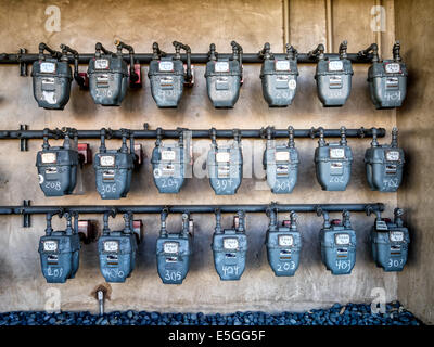 Smart gas meters for consumption in California - Stock Photo